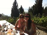 Vicki and I enjoying a fab brunch, cooked by Lissa and Claire, on our day off.